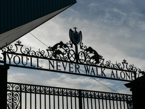 anfield - you'll never walk alone sign on the gates